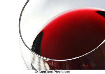 Glass of Red Wine on White - Closeup of a glass of red wine,...