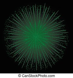 Green realistic fireworks on the black background, Vector...