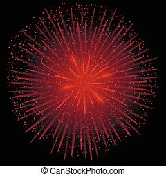 Red realistic fireworks on the black background, Vector...