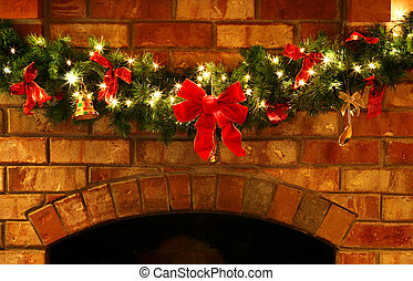 Christmas Garland with Lights - A Christmas garland on a...