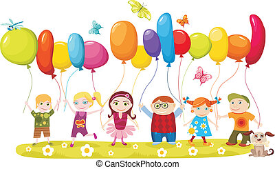 children set - vector illustration of children