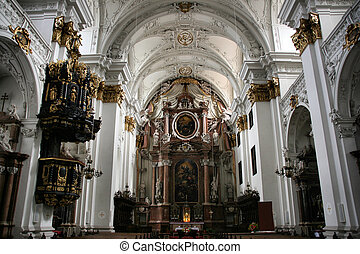 Linz cathedral - beautiful baroque church interior. Town in...