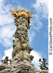 Linz - Famous landmark of Linz - Baroque Trinity Column or...