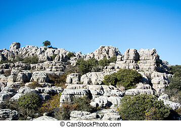A landscape with wild goats, mountains of El Torcal in...