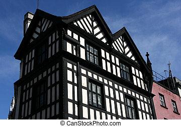 Soho - Old pub exterior in London, United Kingdom. Timber...