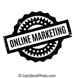 Online Marketing rubber stamp. Grunge design with dust...