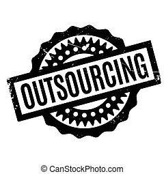 Outsourcing rubber stamp. Grunge design with dust scratches....