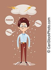 Bad mood. Sad office man character. Vector flat cartoon illustration