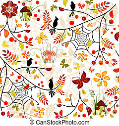 Autumn seamless pattern with colorful leaves, bird and...