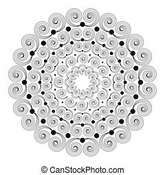 vector black and white round mandala with striped curly...