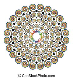 vector colored round rainbow spectrum mandala with curly...