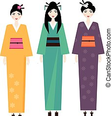 Woman in kimono. Female in traditional japanese clothes