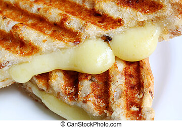 Closeup of Grilled Cheese Sandwich - Closeup of melting...