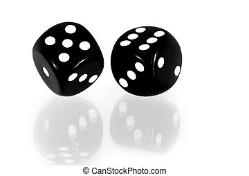 Black Dice Reflected - Black and white dice reflected on a...
