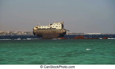 Shipwreck near the Reef in the Red Sea, Egypt - Shipwreck...