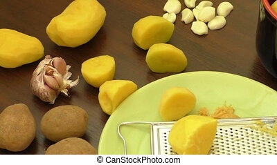 Potato food. The concept of peeled potatoes in a bowl on the...