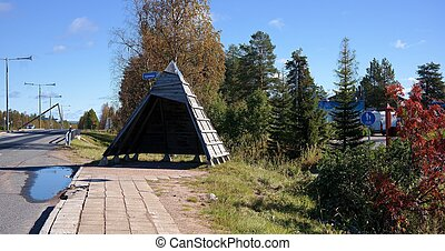 Lappish bus station - A bus station in Lapland by Santa...