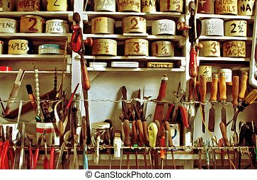 Vintage Workshop - Classic handymans workshop, with vintage...