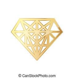 Golden diamod icon. Vector illustration. Golden diamond...