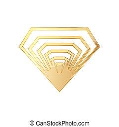 Golden diamod icon. Vector illustration - Golden diamond...