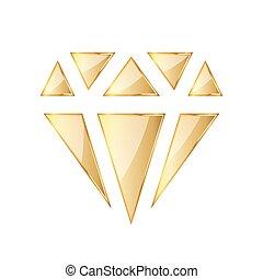 Golden diamod icon. illustration. Golden diamond symbol on...