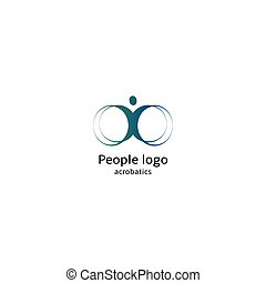 Isolated abstract blue color human body silhouette with circular elements logo on white background vector illustration.