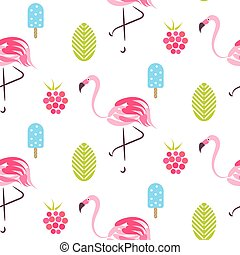 Summer pattern with flamingo, ice cream and raspberries. -...