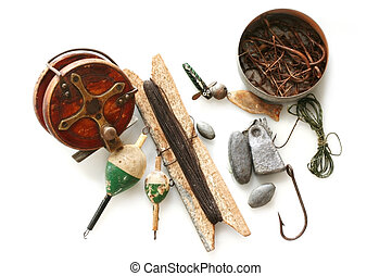 Vintage Fishing Tackle - Vintage fishing tackle, isolated on...