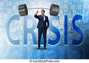 Businessman under heavy burden of debt