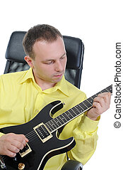 man with a black guitar Isolated on white