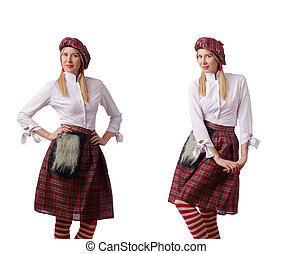 Woman in traditional scottish clothing