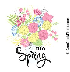 Hello spring. Hand drawing lettering design. Postcard, party...
