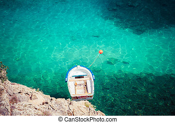boat in sea top view