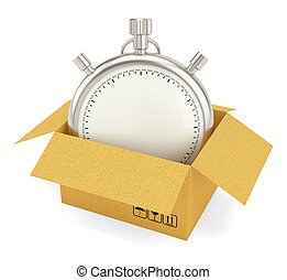 Open Cardboard Box with Stopwatch