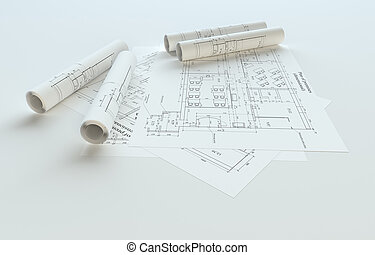 Rolled House Blueprints On Gray Background