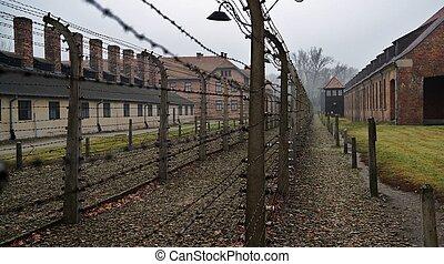 Auschwitz fencing - Fence with barbed wire in Auschwitz...