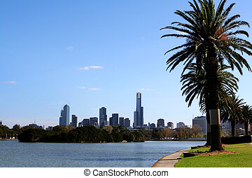 Melbourne, Australia, viewed across Albert Park Lake