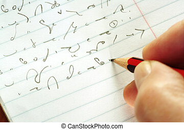 Taking Shorthand - Closeup of stenographer's hand, and...