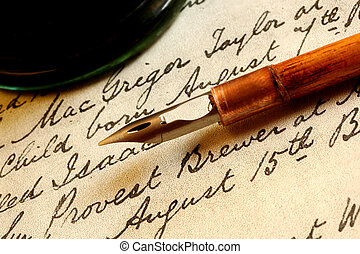 Nib Pen and Inkwell - Antique nib pen and inwell, on a page...