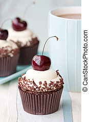 Black forest cupcakes - Cupcakes decorated with black...