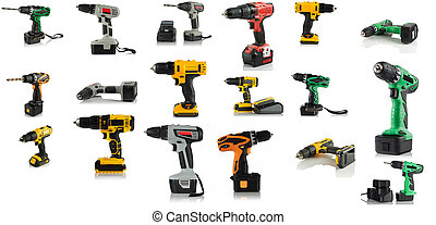 cordless rechargeable screwdrivers on white background