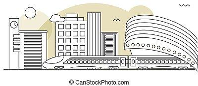 Suburban or metro train station flat design