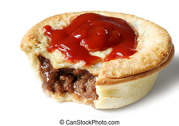 Aussie Meat Pie and Sauce - Australian meat pie and tomato...