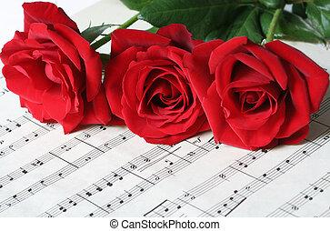 rosas, folha, três, vermelho, música