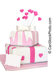 Pink Heart Cake - Two-tier pink cake with hearts Blank...