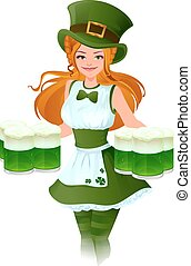 Woman waitress Patrick holds glass of green beer