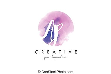 AP Watercolor Letter Logo Design with Purple Brush Stroke. -...
