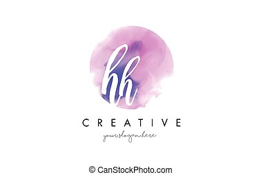 HH Watercolor Letter Logo Design with Purple Brush Stroke. -...