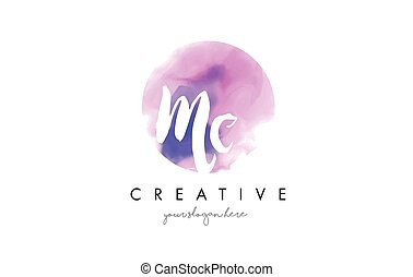 MC Watercolor Letter Logo Design with Purple Brush Stroke. -...
