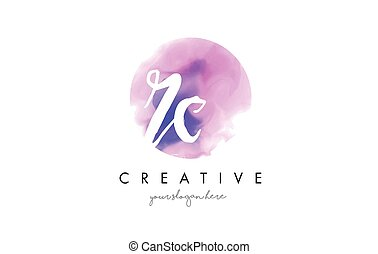 RC Watercolor Letter Logo Design with Purple Brush Stroke. -...
